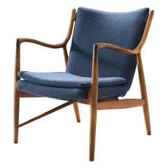 Finn Juhl for Niels Vodder Armchair Nv45 in Teak and Blue Fabric Upholstery