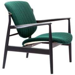 Finn Juhl France Chair in Wood and Green Upholstery