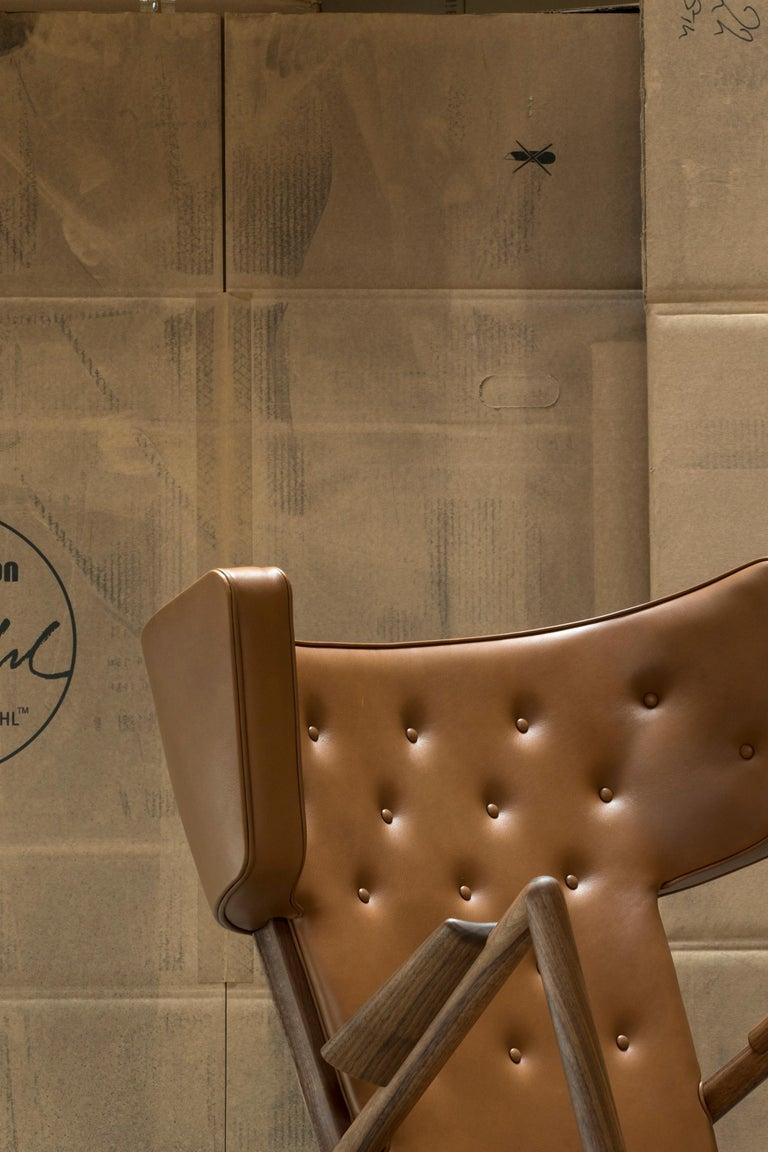 Danish Finn Juhl Grasshopper Armchair in Wood and Leather For Sale
