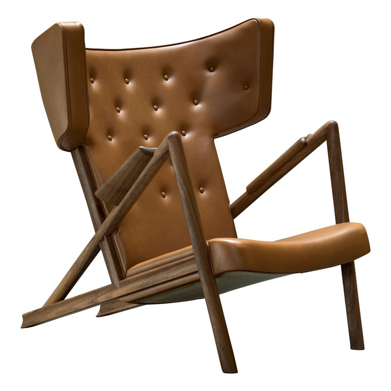 Finn Juhl Grasshopper Armchair in Wood and Leather For Sale