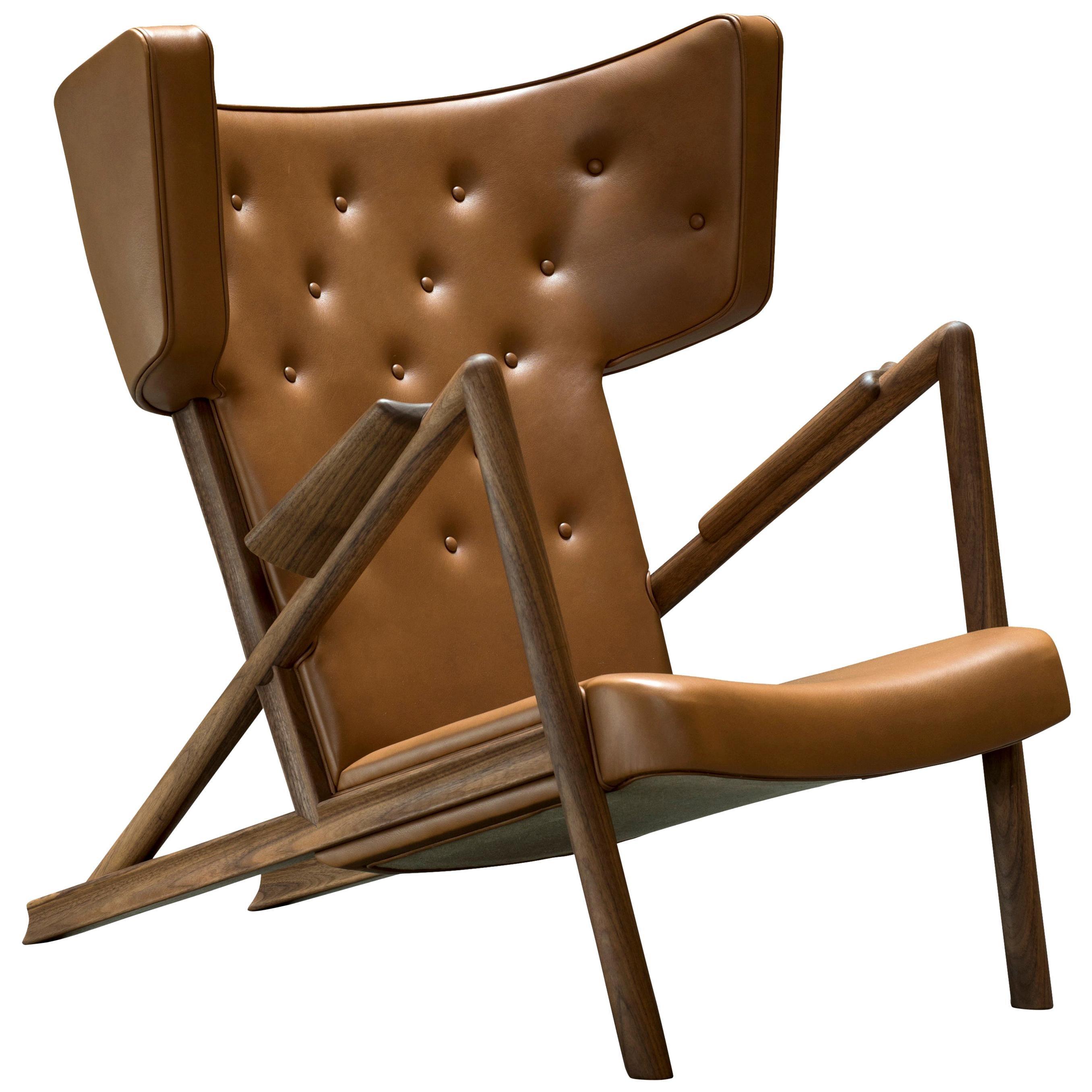 Finn Juhl Grasshopper Armchair in Wood and Leather