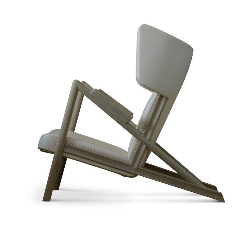 Modern Finn Juhl Grasshopper Armchair, Wood and Leather For Sale