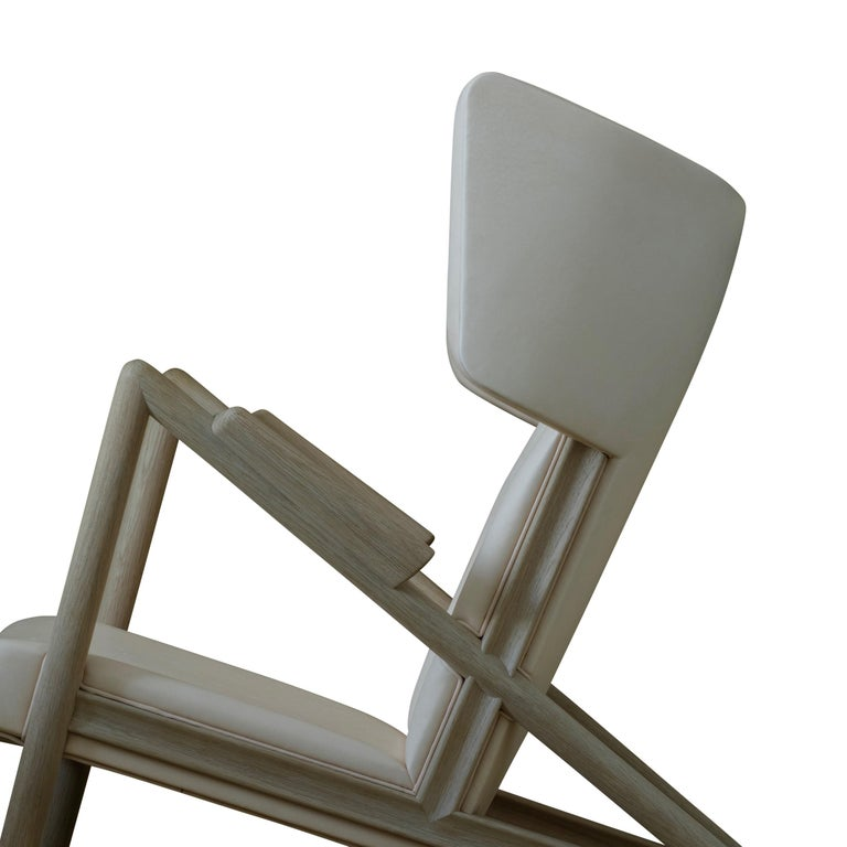 Contemporary Finn Juhl Grasshopper Armchair, Wood and Leather For Sale