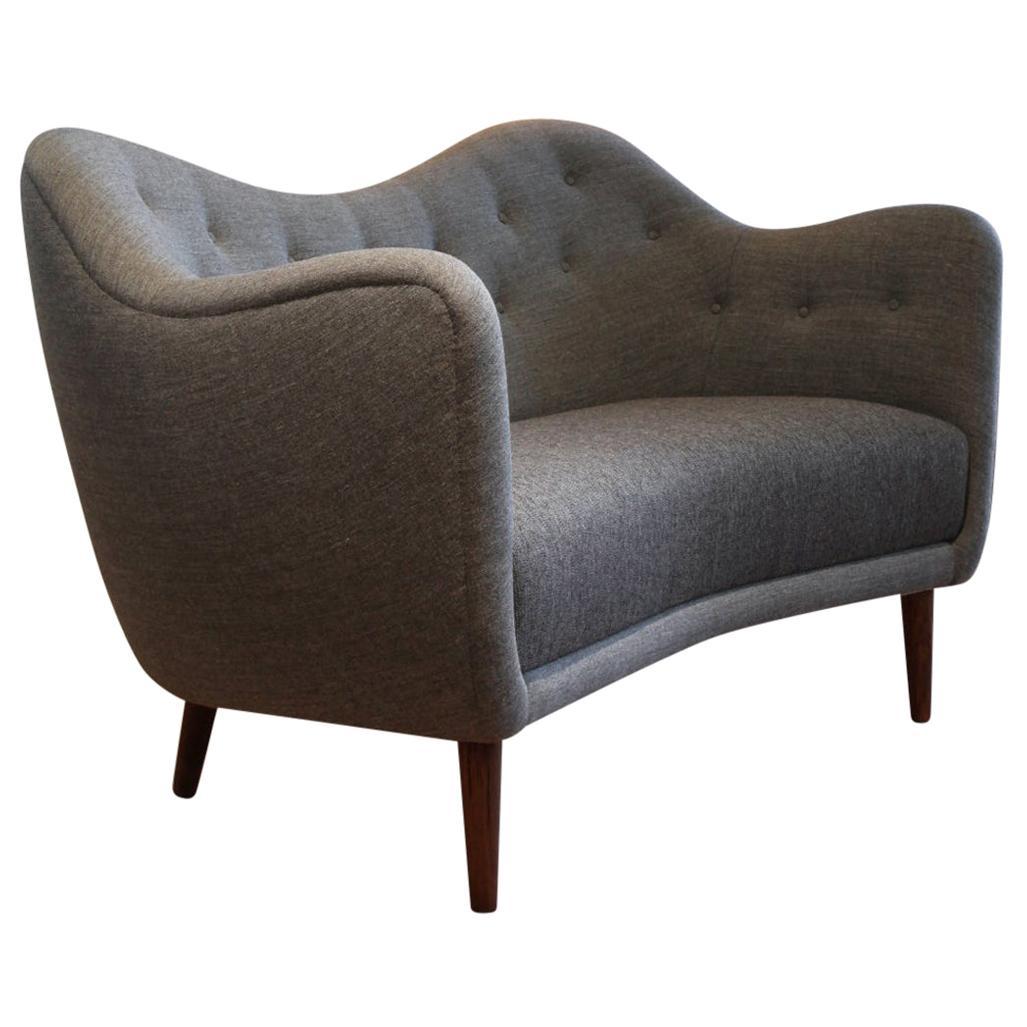 Finn Juhl Grey 46 Sofa Couch Wood and Fabric