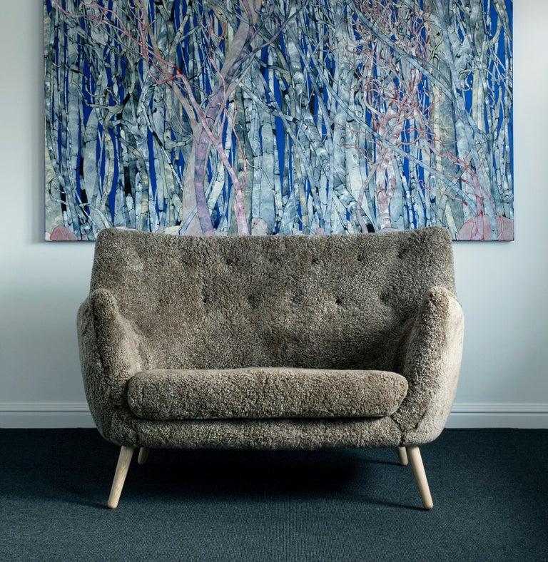 Finn Juhl Grey 46 Sofa Oak Sheepskin Sahara For Sale 3