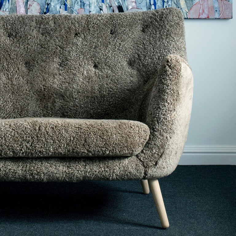 Danish Finn Juhl Grey 46 Sofa Oak Sheepskin Sahara For Sale