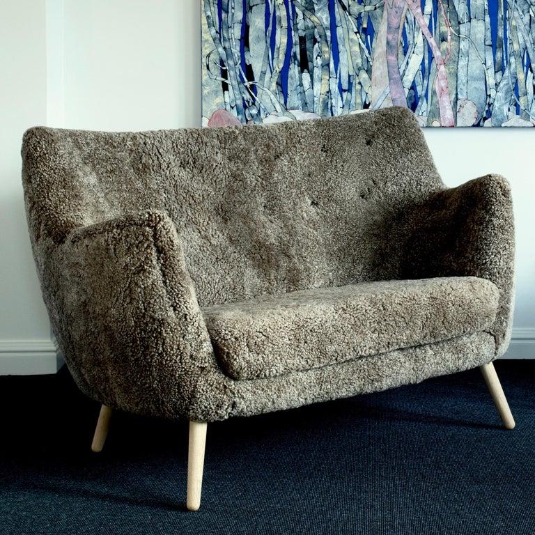 Wood Finn Juhl Grey 46 Sofa Oak Sheepskin Sahara For Sale