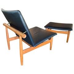 "Finn Juhl ""Japan"" Lounge Chair with Ottoman Black Leather and Teak"