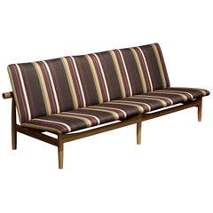 Finn Juhl Japan Series Three-Seaterss Sofa, Wood and Special Kjellerup Fabric