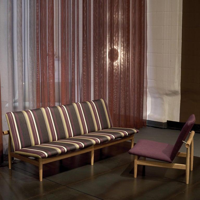 Contemporary Finn Juhl Japan Series Sofa Walnut, Discontinued Fabric For Sale