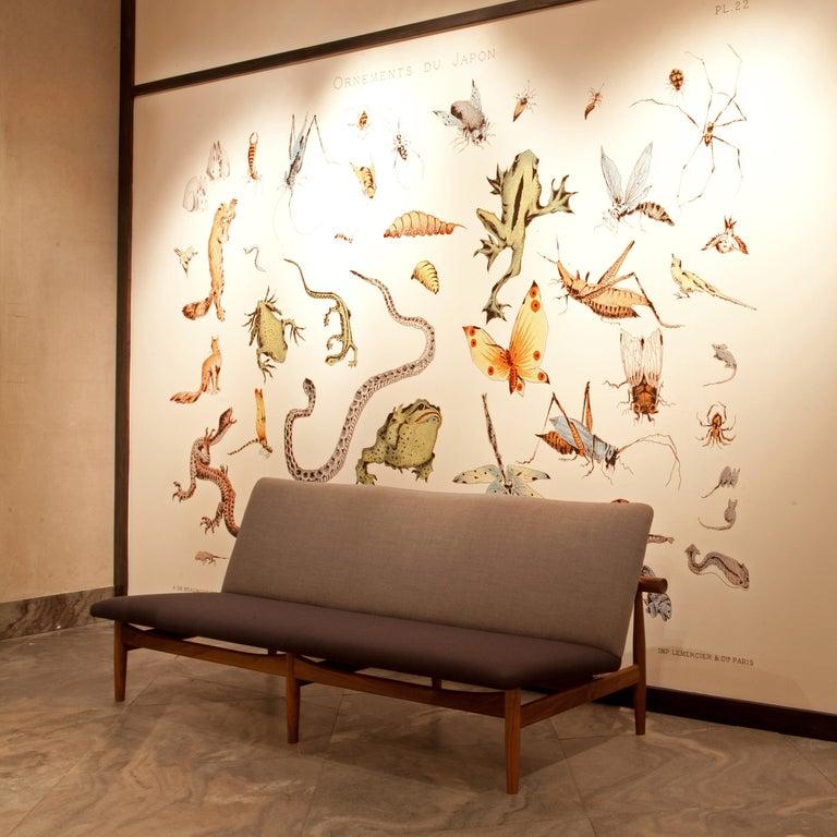 Finn Juhl Japan Series Sofa Walnut, Discontinued Fabric For Sale 2