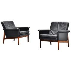 Finn Juhl Jupiter Lounge Chairs France & Son Denmark 1965 Black