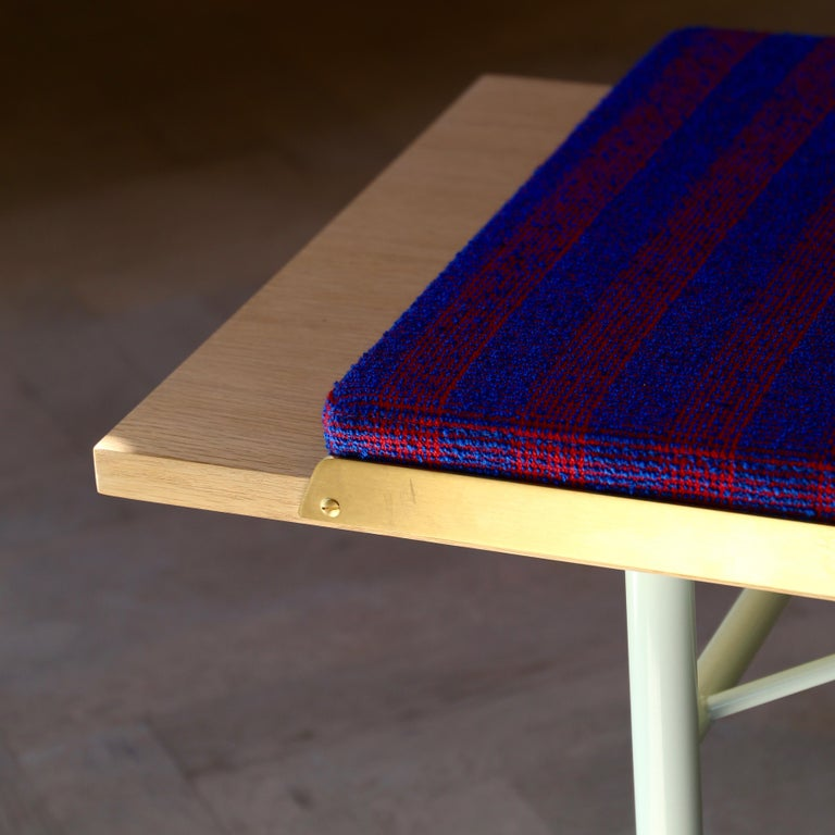 Finn Juhl Large Table Bench, Wood and Brass For Sale 4