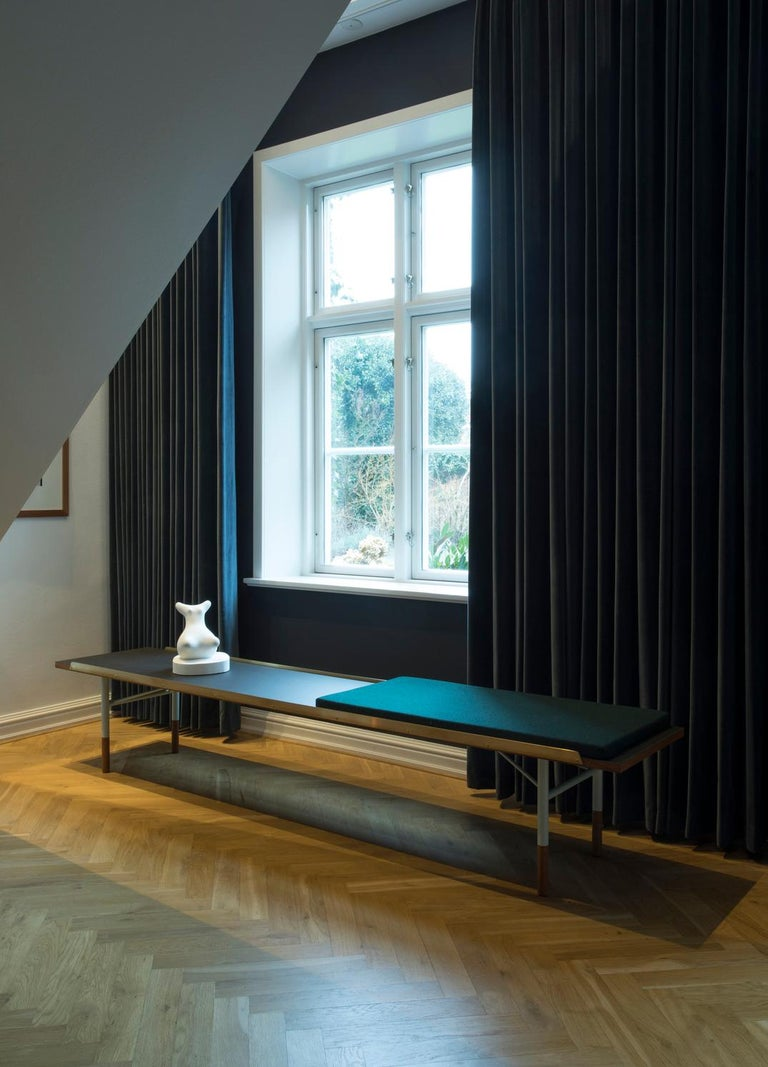 Finn Juhl Large Table Bench, Wood and Brass For Sale 5
