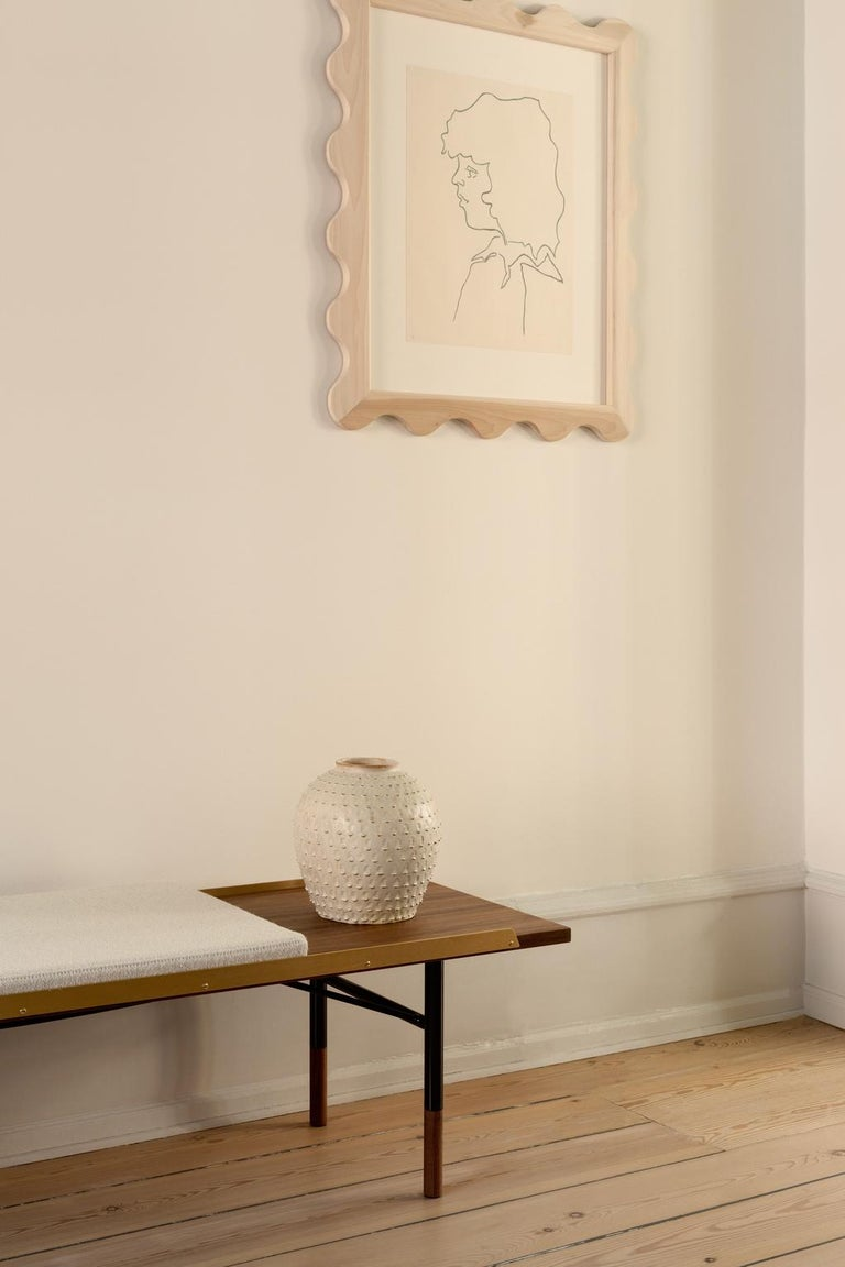 Finn Juhl Large Table Bench, Wood and Brass For Sale 7