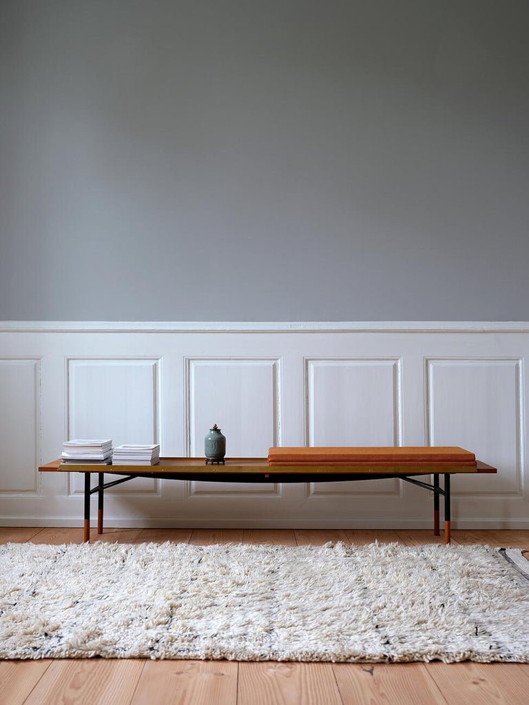 Finn Juhl Large Table Bench, Wood and Brass For Sale 8