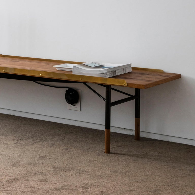 Modern Finn Juhl Large Table Bench, Wood and Brass For Sale