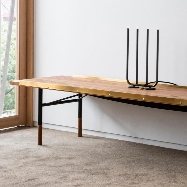 Danish Finn Juhl Large Table Bench, Wood and Brass For Sale