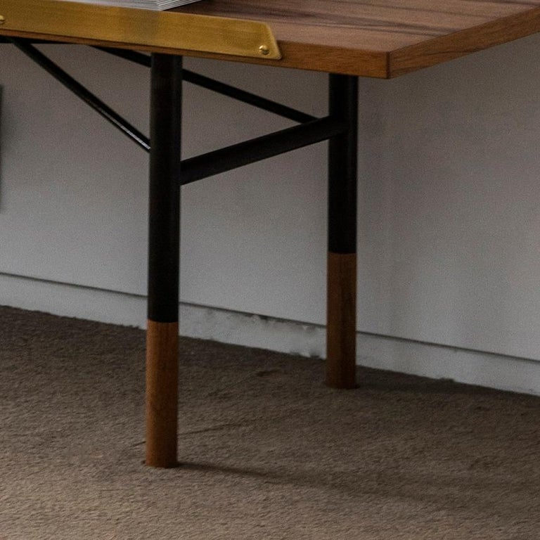 Finn Juhl Large Table Bench, Wood and Brass In New Condition For Sale In Barcelona, Barcelona