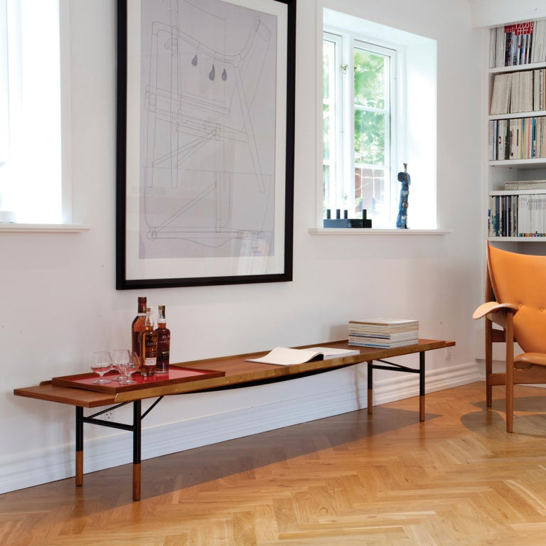 Contemporary Finn Juhl Large Table Bench, Wood and Brass For Sale