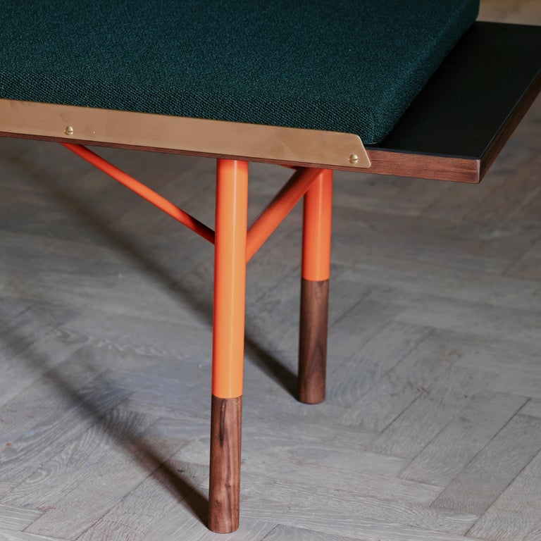 Finn Juhl Large Table Bench, Wood and Brass For Sale 1