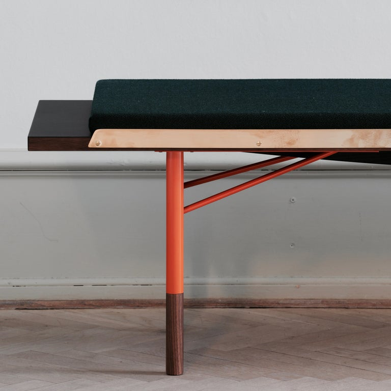 Finn Juhl Large Table Bench, Wood and Brass For Sale 2