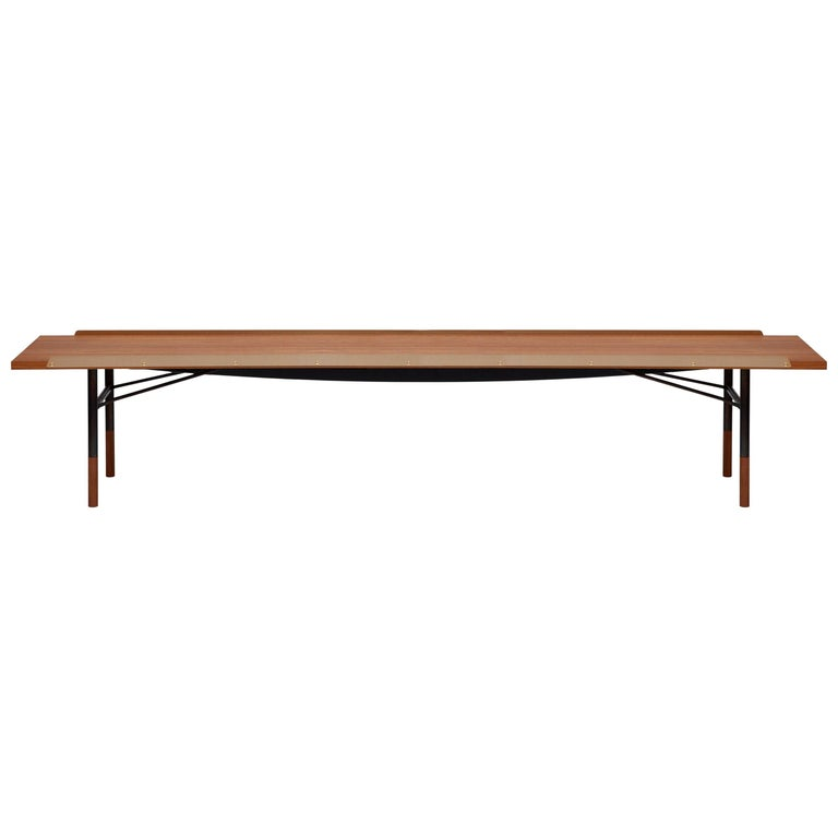 Finn Juhl Large Table Bench, Wood and Brass For Sale