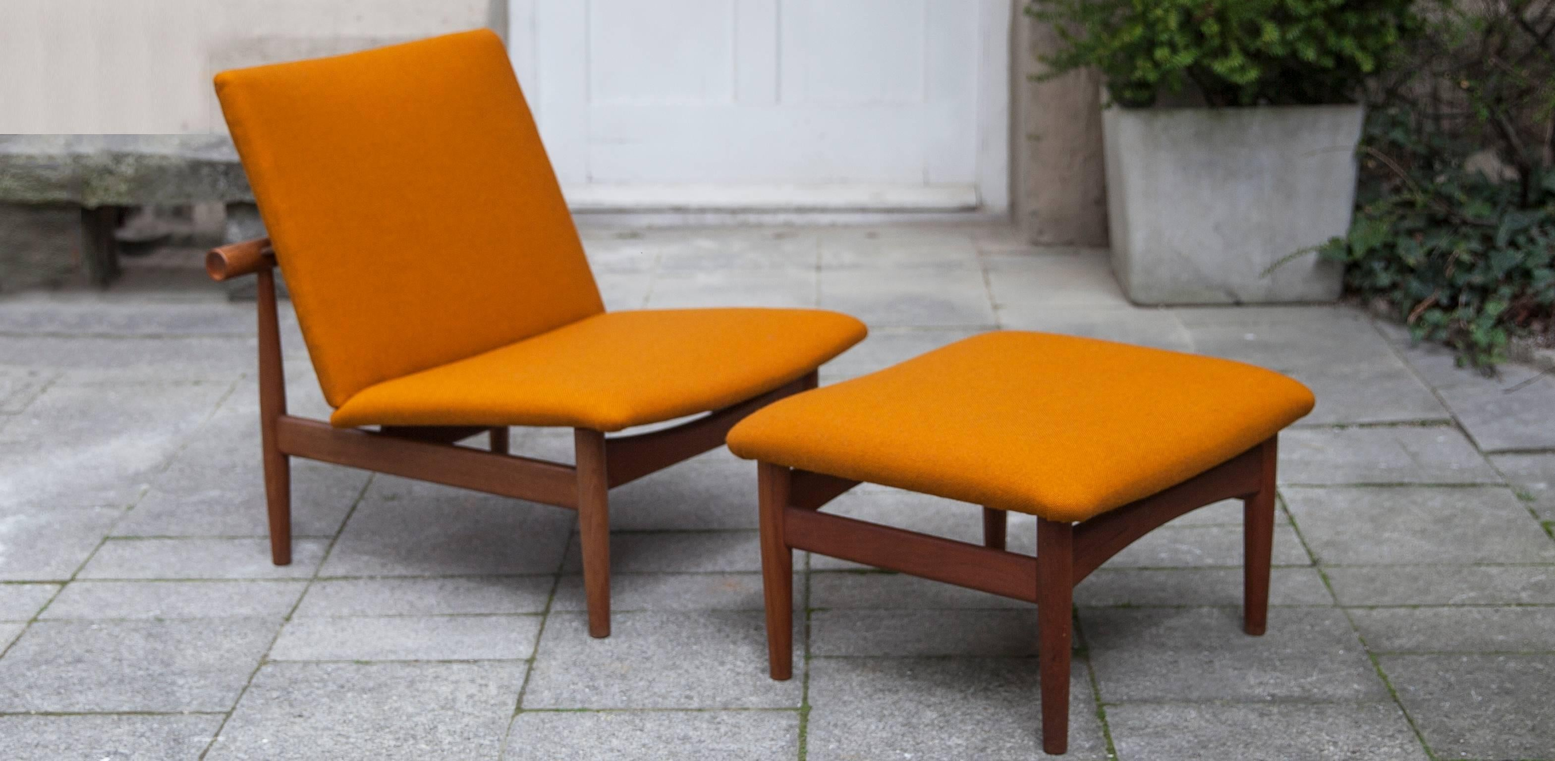 Rare Finn Juhl lounge chair set model Japan / FD-137. The stool was & Finn Juhl Lounge Chair Plus Ottoman Japan Series 1953 For Sale at ...