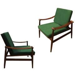 Finn Juhl Midcentury Teak Easy Chairs Vintage Modern Style Armchair, Pair, 1950