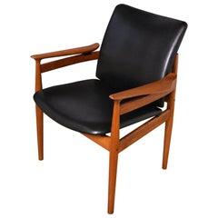 Finn Juhl Model 192 Teak and Leather Armchair For France & Son, Denmark