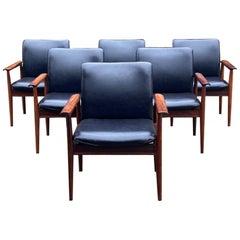 Finn Juhl Model 209 Diplomat Chairs in Rosewood & Leather Set of Six, Cado 1965
