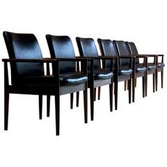 Finn Juhl Model 209 Diplomat Chairs in Rosewood & Leather Set of Six, Cado, 1960