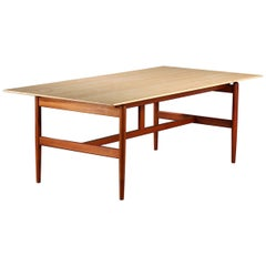 Finn Juhl Niels Vodder Worktable / the Kaufmann Table Teak Frame and Marble Top