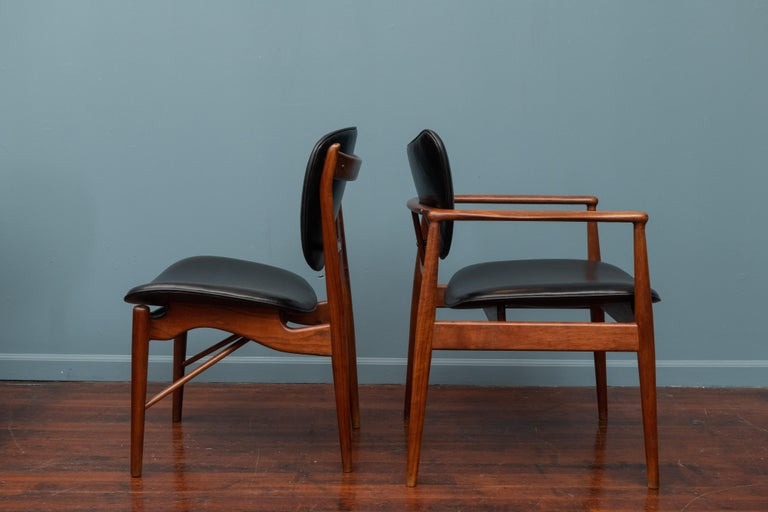 Finn Juhl NV-51 Dining Chairs for Baker In Good Condition For Sale In San Francisco, CA