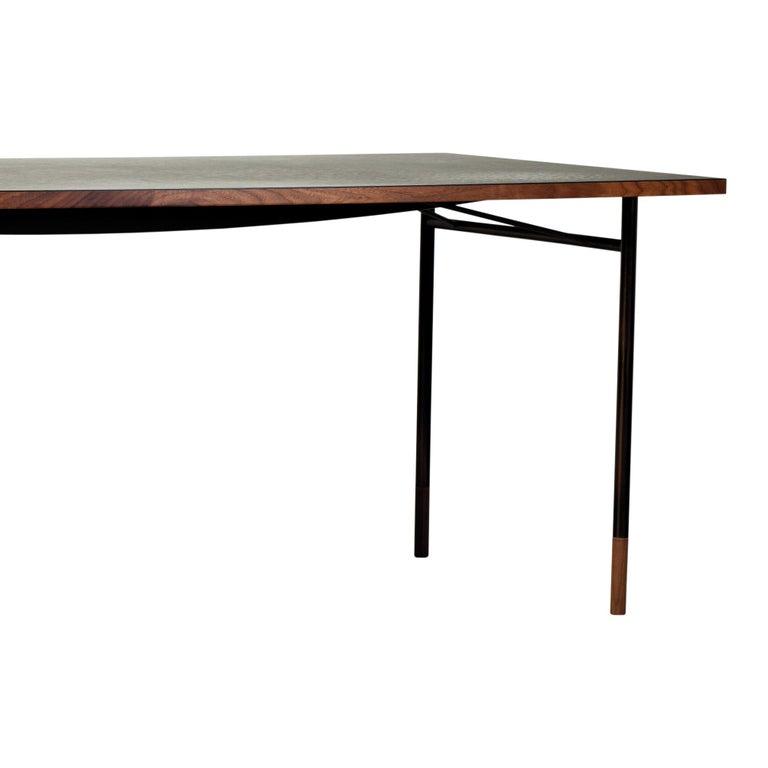 Modern Finn Juhl Nyhavn Desk Walnut Black Lino Cold Colorway Blue and White, 1945 For Sale
