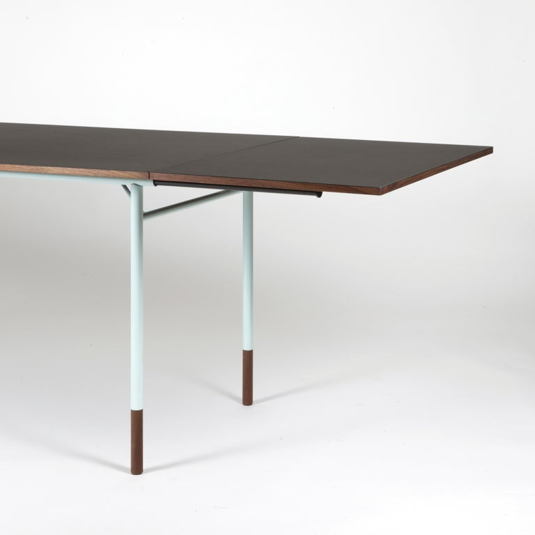 Danish Finn Juhl Nyhavn Dining Table Black Lino, Blue, Walnut For Sale
