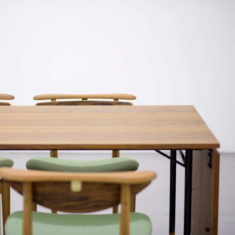 Finn Juhl Nyhavn Dining Table Black Lino, Orange, Walnut For Sale 3