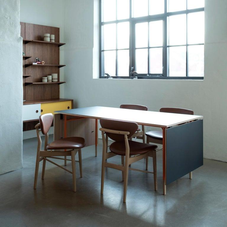 Finn Juhl Nyhavn Dining Table Black Lino, Orange, Walnut For Sale 4