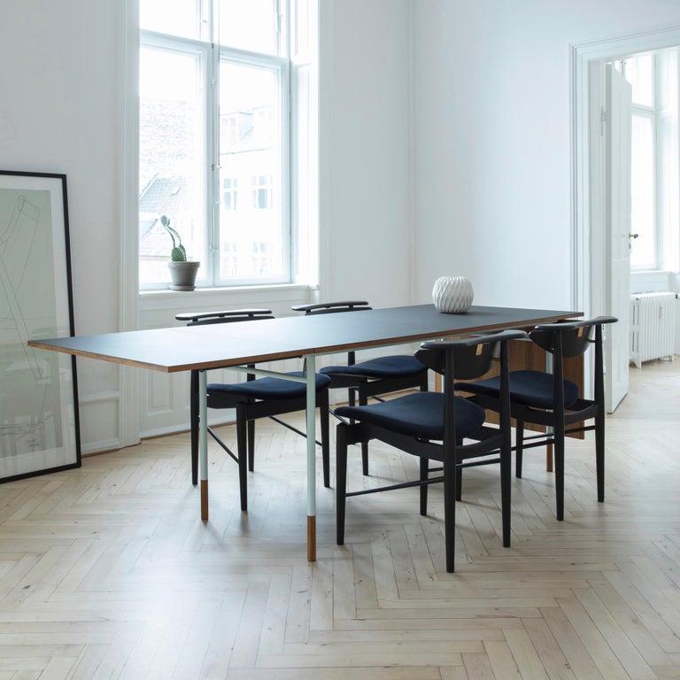 Finn Juhl Nyhavn Dining Table Black Lino, Orange, Walnut For Sale 7