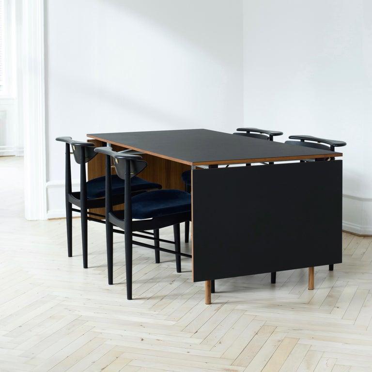 Finn Juhl Nyhavn Dining Table Black Lino, Orange, Walnut For Sale 8