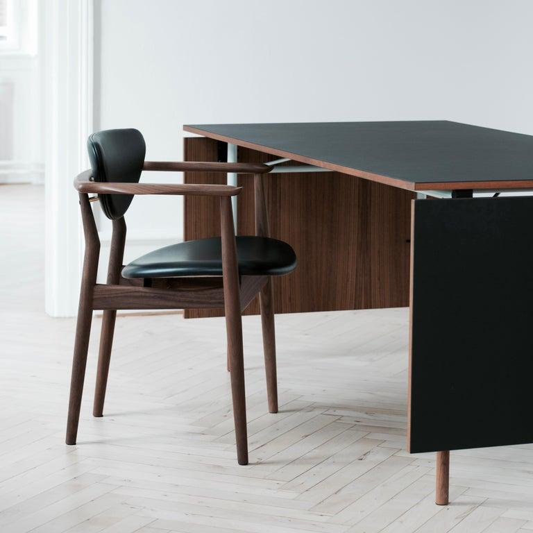 Finn Juhl Nyhavn Dining Table Black Lino, Orange, Walnut For Sale 9