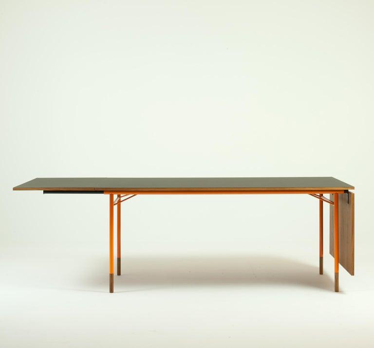 Modern Finn Juhl Nyhavn Dining Table Black Lino, Orange, Walnut For Sale