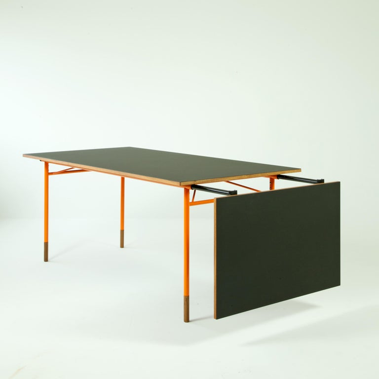 Danish Finn Juhl Nyhavn Dining Table Black Lino, Orange, Walnut For Sale