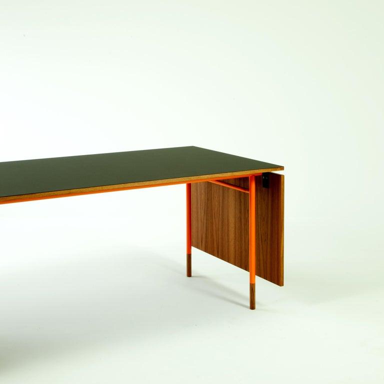 Steel Finn Juhl Nyhavn Dining Table Black Lino, Orange, Walnut For Sale