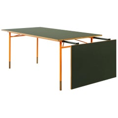 Finn Juhl Nyhavn Dining Table Black Lino, Orange, Walnut