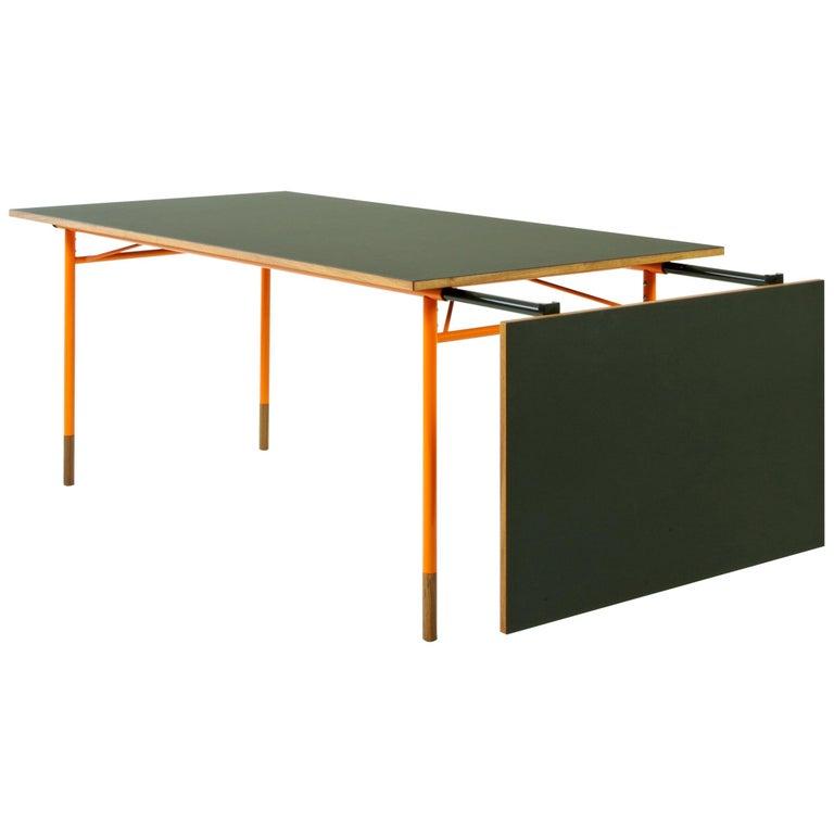 Finn Juhl Nyhavn Dining Table Black Lino, Orange, Walnut For Sale