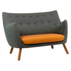 Finn Juhl Orange and Green Poet Sofa Walnut, Rime