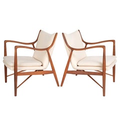 "Finn Juhl Pair of Iconic ""45"" Lounge Chairs, 1950s"