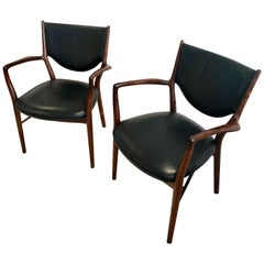 Finn Juhl Pair of NV46 Armchairs in Brazilian Rosewood for Niels Vodder, 1946