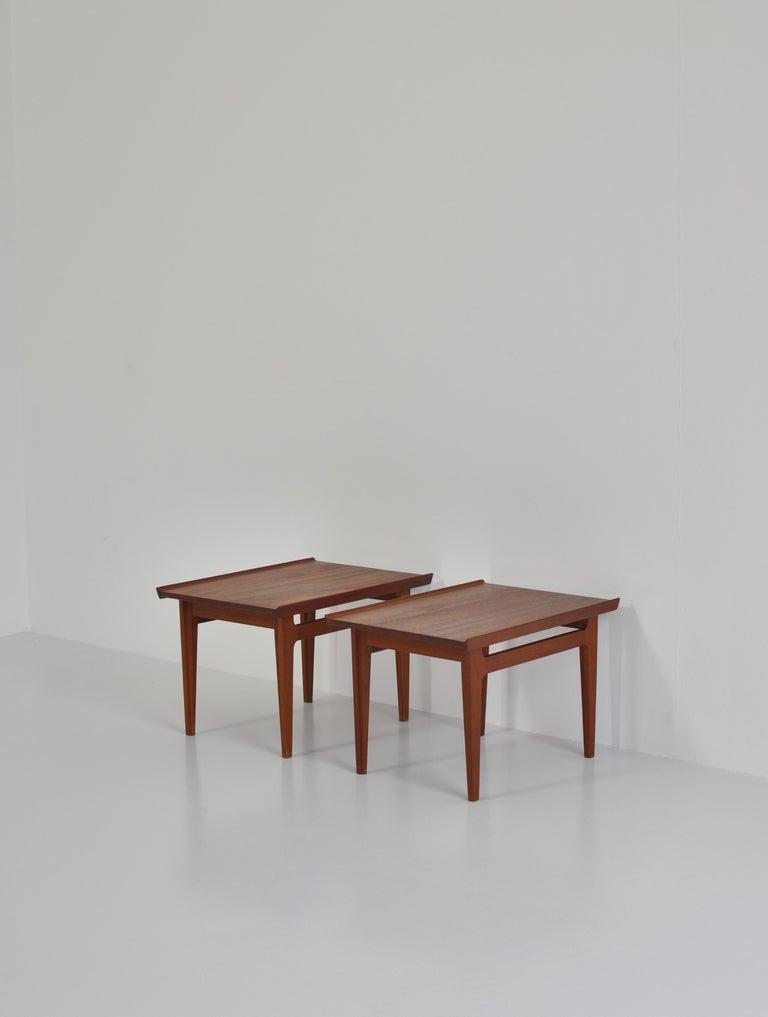 Rare vintage side or lamp tables by Finn Juhl in solid Bangkok teakwood. Model